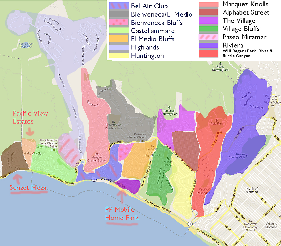Pacific palisades map images for Where is pacific palisades
