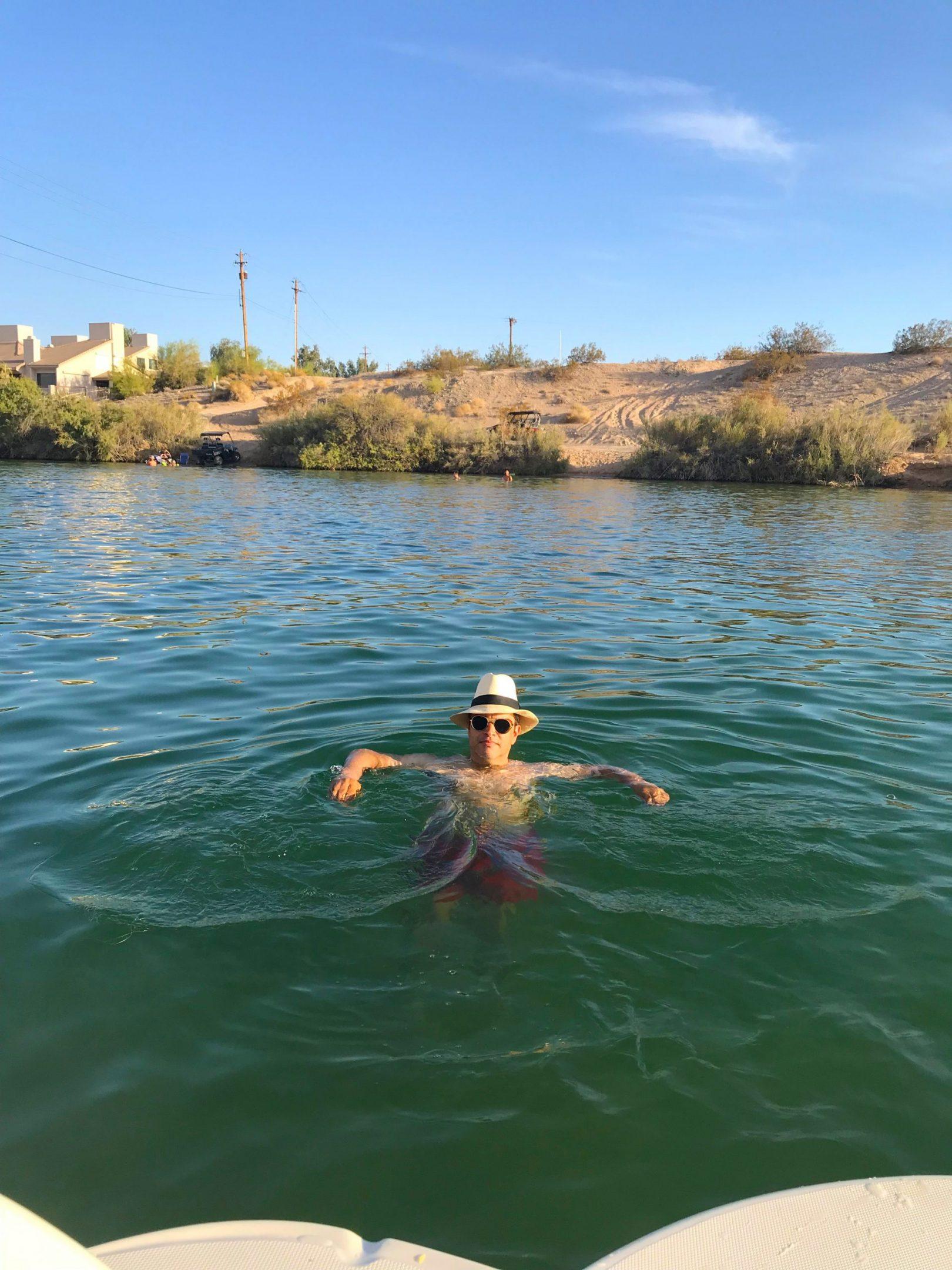 Douglas taking a dip on Lake Havasu