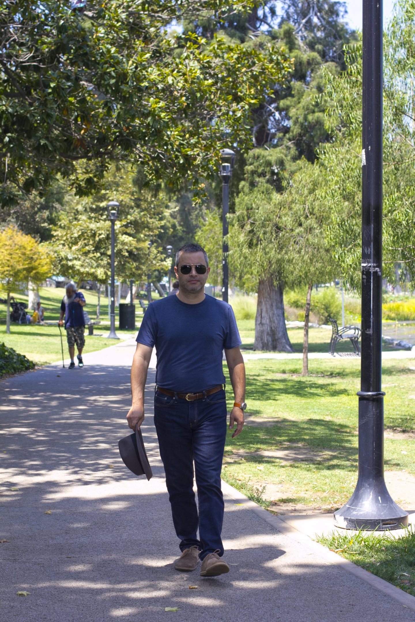 male blogger taking a stroll on Los Angeles' Echo Park