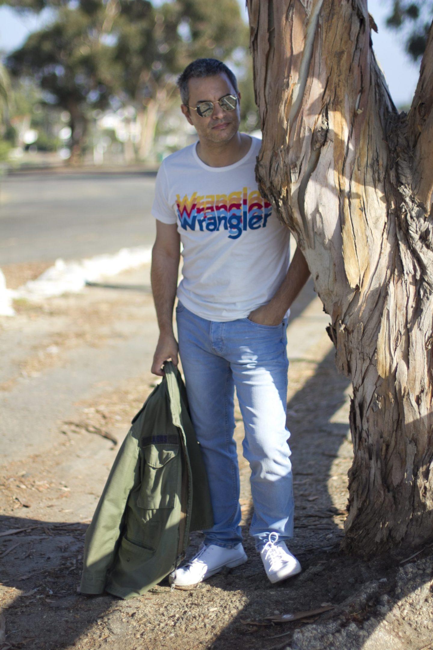 Wrangler jeans Los Angeles men's blogger