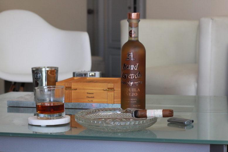 Savoring a Gurkha cigar and tequila
